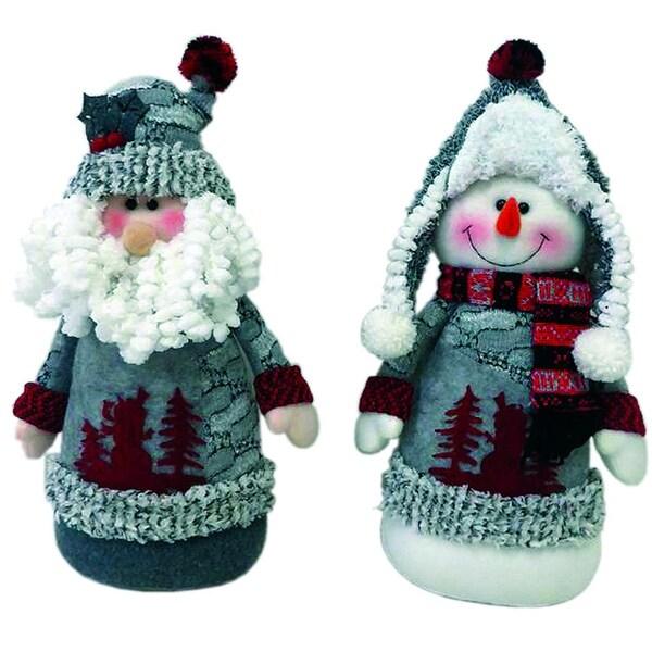 "Set of 2 Artic Santa Claus and Snowman Plush Christmas Sitting Figures 13"""