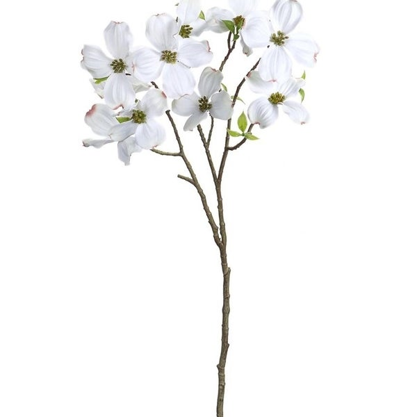 """Pack of 12 Decorative Plastic White and Green Dogwood Spray 28""""H"""