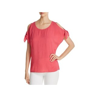 Side Stitch Womens Casual Top Cold Shoulder Tie Sleeves