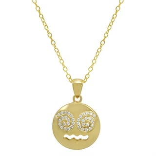 Amanda Rose Cubic Zirconia Dizzy Face Emoji Pendant-Necklace in Gold Over Sterling Silver on an 18 inch chain