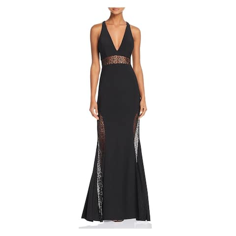 AQUA Womens Black Sleeveless Full-Length Mermaid Formal Dress Size 0