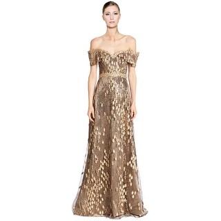 Rene Ruiz Embellished Off Shoulder Lace Overlay Evening Ball Gown Dress - 6