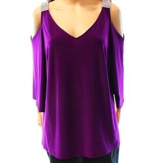 MSK NEW Purple Women's 1X Plus Embellished V-Neck Cold Shoulder Blouse