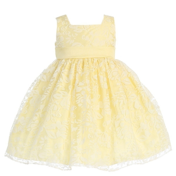 Yellow Floral Burnout Easter Flower Girl Dress Girls 12M-4T