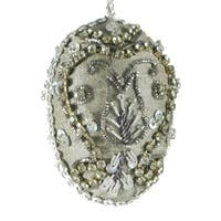 """Set of 4 Hand Crafted Silver Bead Encrusted Floral Silk Egg Christmas Ornaments 3"""""""