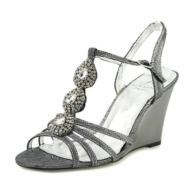 Adrianna Papell Lacee Women Open Toe Canvas Silver Wedge Sandal