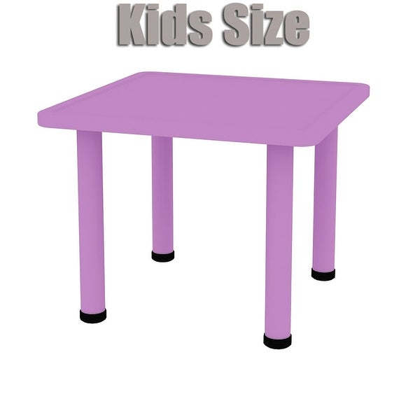 2xhome Adjustable Height Kids Plastic Activity Table Metal Leg Square Toddler Child Preschool Home Desk Dining Kitchen Purple