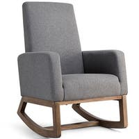 Costway Mid Century Retro Modern Fabric Upholstered Rocking Chair Relax Rocker Gray
