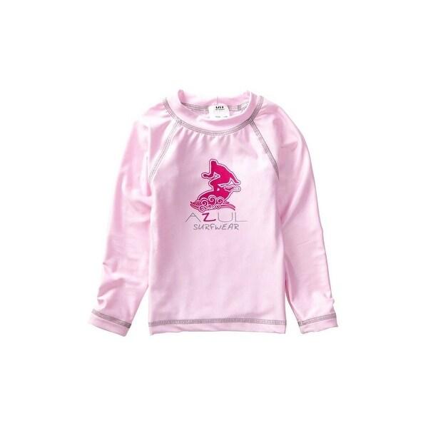 Azul Baby Girls Pink Solid Logo Detail Long Sleeve UPF 50+ Rash Guard - 12 months