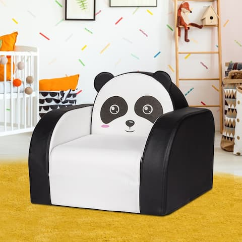 Kinbor Kids Sofa, Children Couch Armrest Chair, Toddler Lounge Bed, 3 in 1 Flip Open Foam Sofa for Play & Game Rooms, Panda