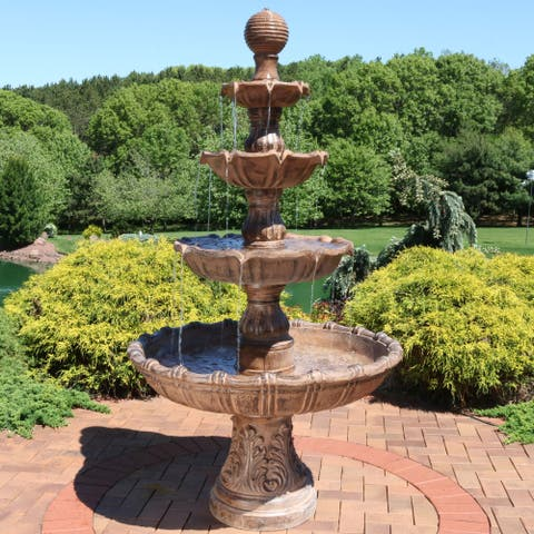 Sunnydaze Large Tiered Ball Garden Outdoor Water Fountain - 80-Inch Tall - Brown