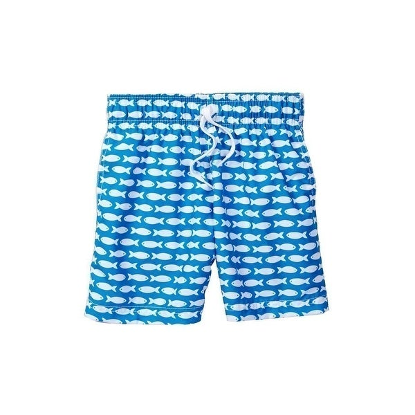 Azul Baby Boys Blue Fish Line Print Drawstring Waist Swim Shorts