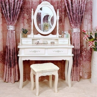 Link to Rotation White Mirror Dressing Vanity Table Makeup Desk with Stool Similar Items in Bedroom Furniture