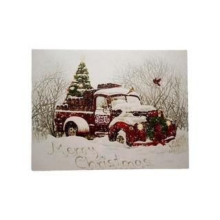 "LED Lighted ""Merry Christmas"" Pepsi-Cola Delivery Truck Canvas Wall Art 11.75"" x 15.75"""