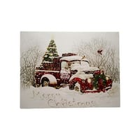 "LED Lighted ""Merry Christmas"" Pepsi-Cola Delivery Truck Canvas Wall Art 12"" x 15.75"" - White"