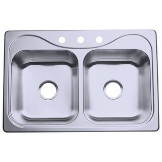 "Sterling 11400-3 Southhaven 33"" Double Basin Drop In Stainless Steel Kitchen Sink with SilentShield"