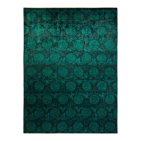 """Vibrance, One-of-a-Kind Hand-Knotted Area Rug - Black, 9' 10"""" x 13' 4"""" - 9' 10"""" x 13' 4"""""""