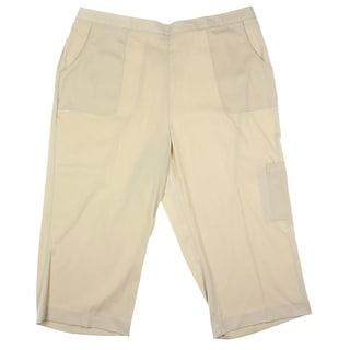Alfred Dunner Womens Plus Matte Jersey Cargo Capri Pants