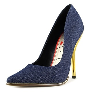 Luichiny Mind Blowing Women Pointed Toe Canvas Blue Heels