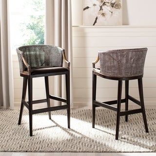 "Link to SAFAVIEH Brando Rattan 30-inch Bar Stool - 22.3"" W x 20.5"" L x 39"" H Similar Items in Kitchen & Dining Room Chairs"
