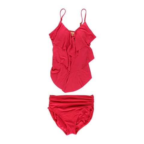 Magicsuit Womens Tiered Ruched 2 Piece Tankini