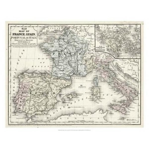 Map Of Spain To Print.Mitchells Map Of France Spain Italy Poster Print By Laura