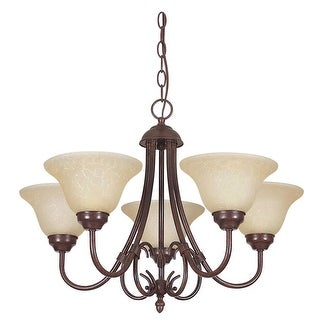 "Sunset Lighting F6375 Madrid 5 Light 500 Watt 22.5"" Width Up Light Chandelier - Rubbed bronze"