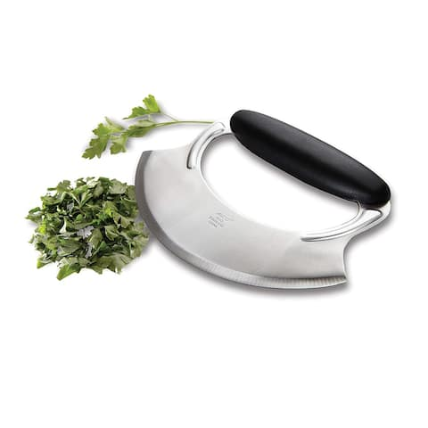 Amco Stainless Steel Handheld Mezzaluna With Easy Use Non Slip Silicone Handle For Chopping Vegetables & Herbs - Silver Black