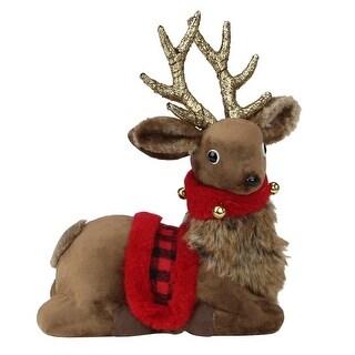 "10.5"" Sitting Reindeer with Buffalo Plaid Saddle Christmas Figure"