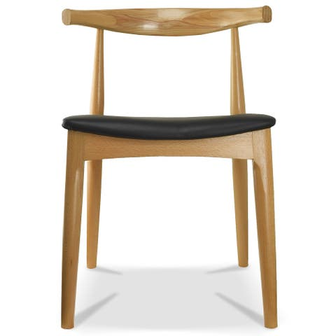 2xhome Natural Solid Real Wood PU Leather Cushion Seat Wood Retro Dining Chairs No Arm Side Armless Desk