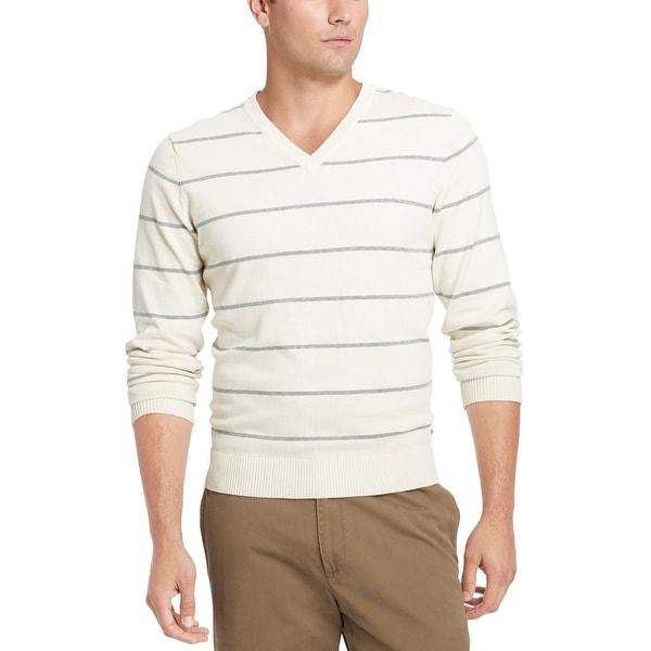 IZOD Fine Gauge V-Neck Sweater XL Egret Beige & Grey Striped Cotton
