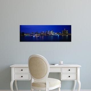 Easy Art Prints Panoramic Images's 'USA, Michigan, Detroit, night' Premium Canvas Art