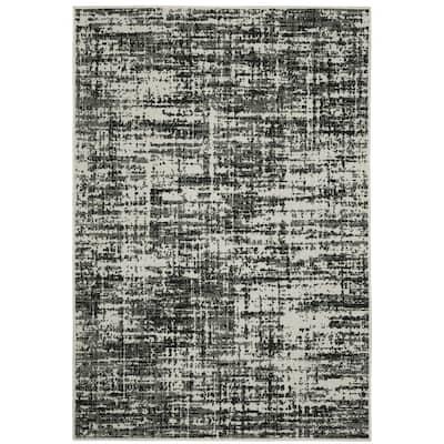 Talcot Distressed Abstract Black Indoor-Outdoor Area Rug