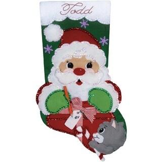 "Santa's Present Stocking Felt Applique Kit-18"" Long"