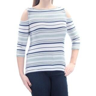 Womens Ivory Striped 3/4 Sleeve Jewel Neck Sweater Size L