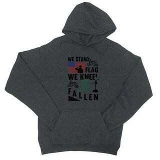 We Stand We Kneel Unisex Black Hooded Sweatshirt US Veteran Gift (More options available)