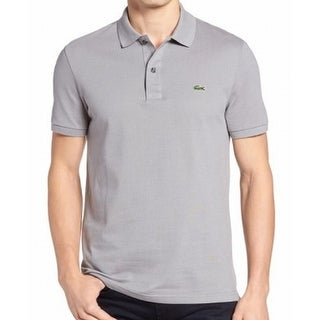 Lacoste NEW Gray Mens Size 2XL Embroidered Logo Slim-Fit Polo Shirt
