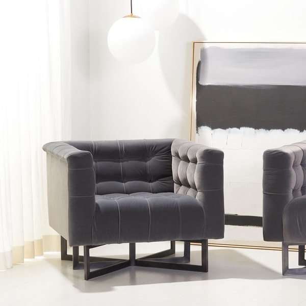 """SAFAVIEH Couture Myra Modern Tufted Accent Chair - 35.4"""" W x 27.6"""" L x 31.5"""" H. Opens flyout."""