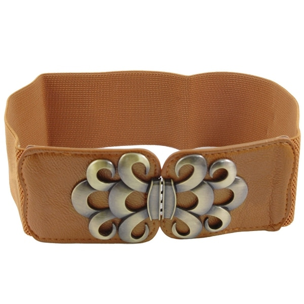 Unique Bargains Lady Wave Pattern Metal Interlocking Buckle Elastic Waist Belt Brown
