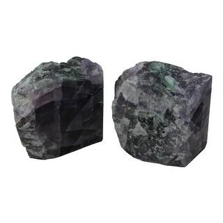 Natural Fluorite Gemstone Bookend Set