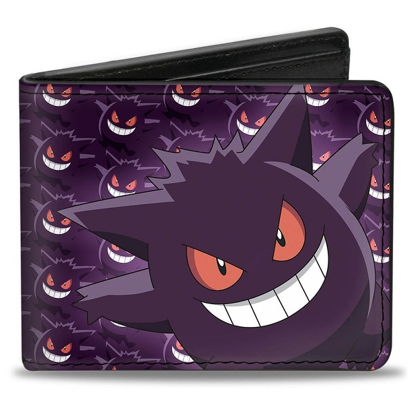 Gengar Pose Monogram + Logo Purples Bi Fold Wallet - One Size Fits most