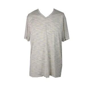 Alfani Yellow Space-Dye V-Neck T-Shirt L