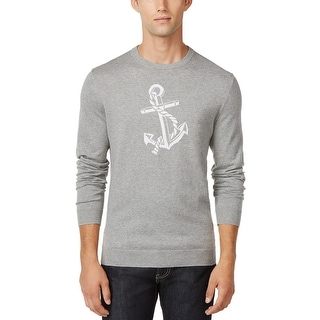 Club Room Anchor Cotton and Cashmere Crewneck Sweater Grey Heather X-Large - XL