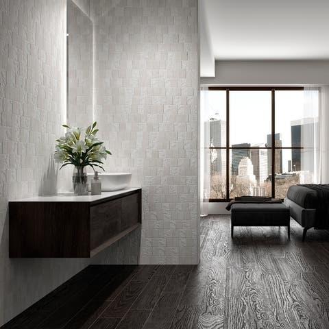 "SomerTile Blend White 3.25"" x 17.5"" Porcelain Wall Subway Tile"