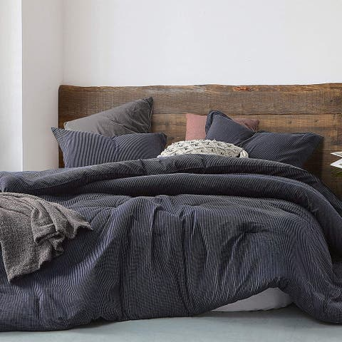 Pinstripe Navy Oversized Comforter - 100% Yarn Dyed Cotton