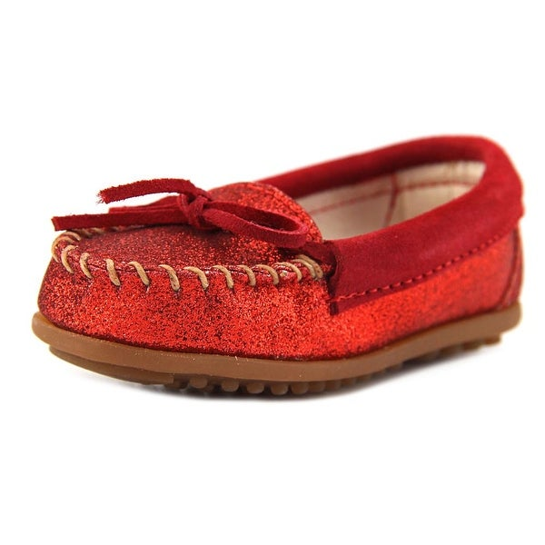 Minnetonka Glitter Moc Toddler Round Toe Leather Red Loafer