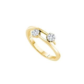 1/6Ctw Diamond Flower Ring Yellow-Gold 14K