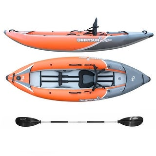 Driftsun Rover 120 Inflatable Whitewater Kayak with High Pressure Floor, EVA Padded Seat, Action Cam Mount, Paddle, & Pump