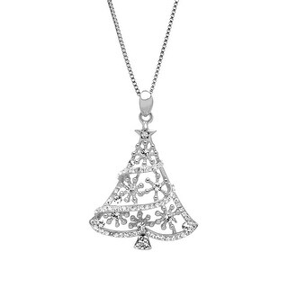 Crystaluxe Christmas Tree Pendant Pendant with Swarovski elements Crystals in Sterling Silver