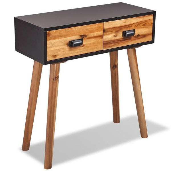 "vidaXL Solid Acacia Wood Console Table 27.6""x11.8""x29.5"""